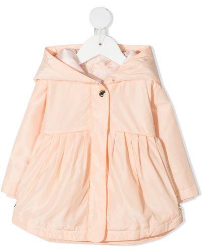 Pomarańczowy płaszcz przeciwdeszczowy z długimi rękawami z kapturem Chloé Kids