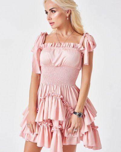 Коктейльное платье осеннее розовое Luxlook