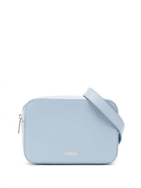 Кожаный синий ремень с поясом Furla