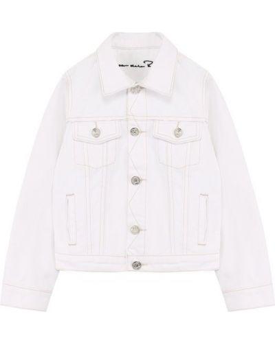Джинсовая куртка с цветочным принтом с аппликациями Oscar De La Renta