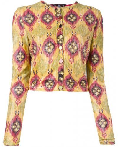 Желтый удлиненный пиджак на пуговицах винтажный John Galliano Pre-owned