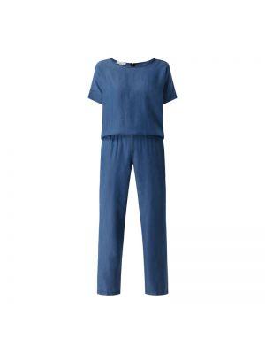 Niebieski kombinezon jeansowy krótki rękaw materiałowy Cinque