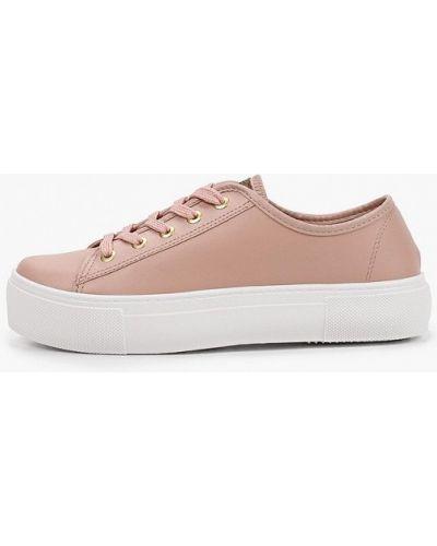 Розовые кожаные низкие кеды Moleca