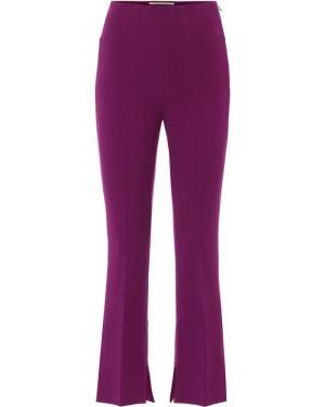 Укороченные брюки фиолетовые из вискозы Roland Mouret