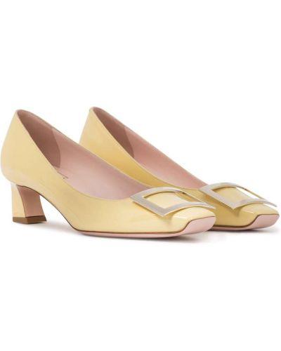 Желтые кожаные туфли-лодочки Roger Vivier