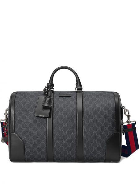 Черная парусиновая дорожная сумка на молнии со шлейфом Gucci