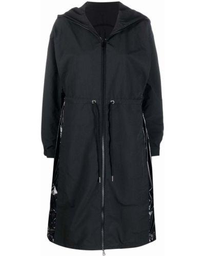 Черный дождевик с капюшоном из плащевки Moncler