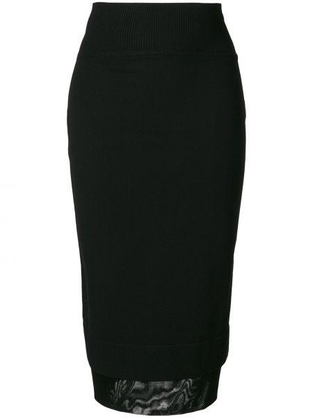 Czarna spódnica midi z wiskozy z siateczką Givenchy