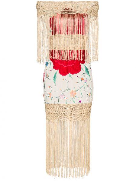Приталенное платье с бахромой винтажное One Vintage