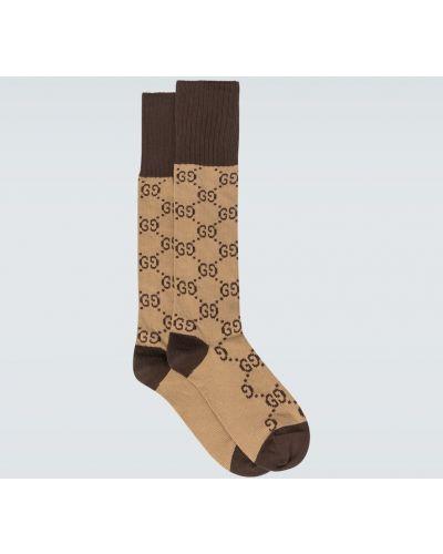 Brązowe skarpety bawełniane z printem Gucci