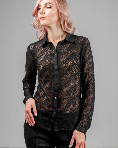 Приталенная кружевная блузка с воротником на пуговицах Lila Classic Style