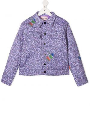 Фиолетовая ватная длинная куртка с воротником Natasha Zinko Kids