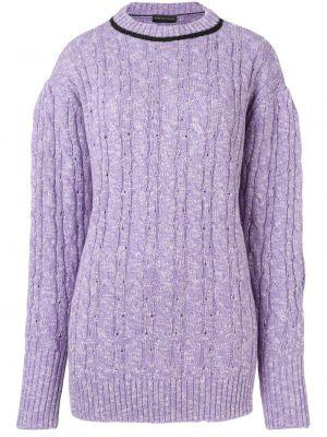 Шелковый фиолетовый свитер свободного кроя с круглым вырезом Cashmere In Love