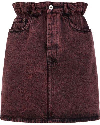 Хлопковая бордовая юбка мини с поясом Miu Miu