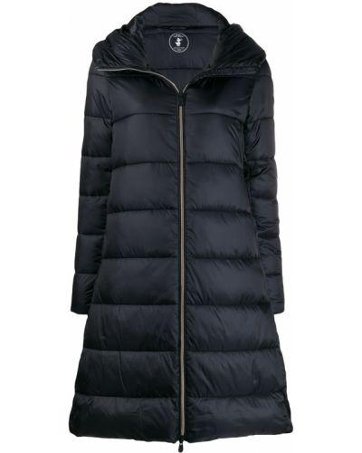 Черное длинное пальто металлическое Save The Duck