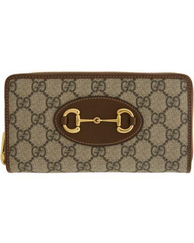 Brezentowy portfel skórzany złoto z gniazdem prążkowany Gucci