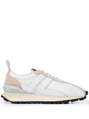 Кожаные белые кроссовки с нашивками на шнуровке Lanvin