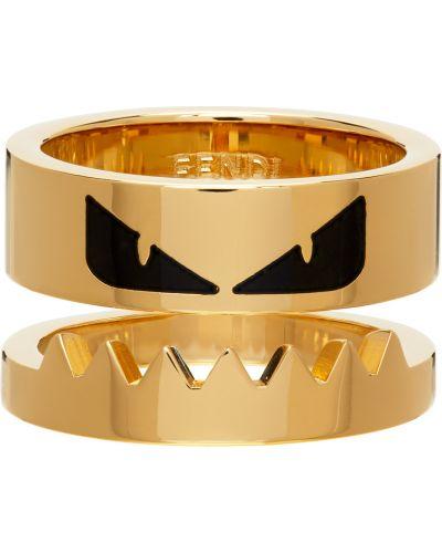 Czarny złoty pierścionek Fendi