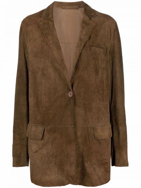 Коричневый кожаный удлиненный пиджак с карманами Salvatore Santoro