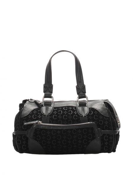 Черная сумка-тоут металлическая на молнии с карманами Céline Pre-owned