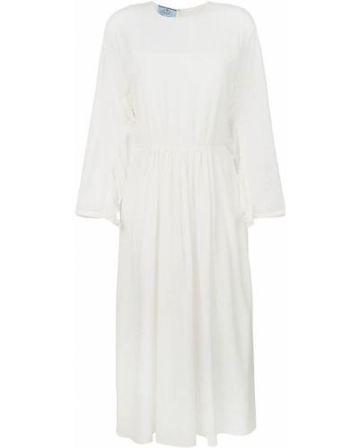 Платье миди солнце с длинными рукавами приталенное Prada