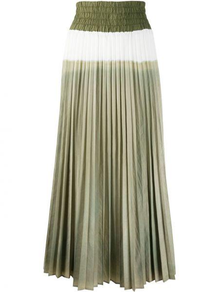 Хлопковая зеленая с завышенной талией плиссированная юбка эластичная Mr & Mrs Italy