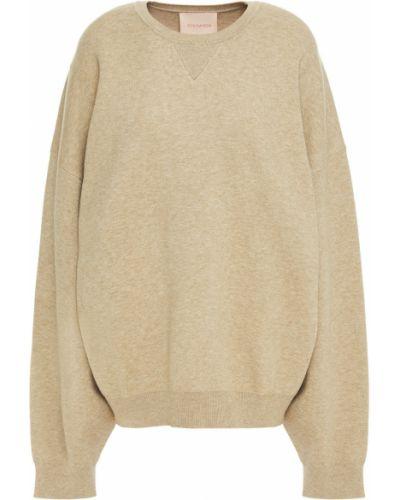 Prążkowany zielony sweter z wiskozy Roksanda