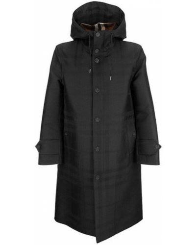 Czarny płaszcz z kapturem bawełniany Burberry