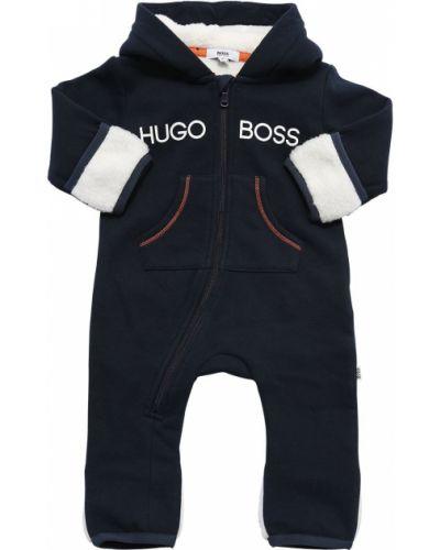Bawełna bawełna niebieski pajacyk z kieszeniami Hugo Boss