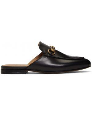 Тапочки черные кожаные Gucci