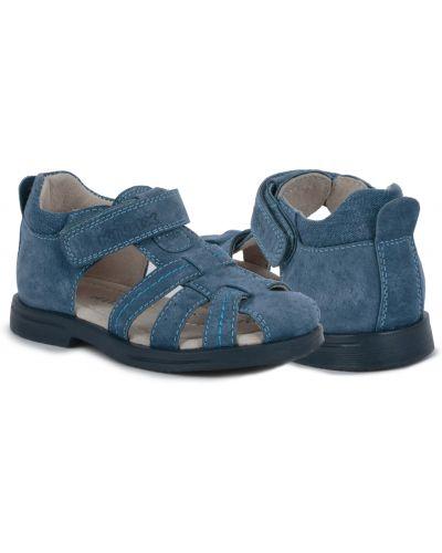 Синие кожаные кожаные босоножки на липучках на каблуке Kidix
