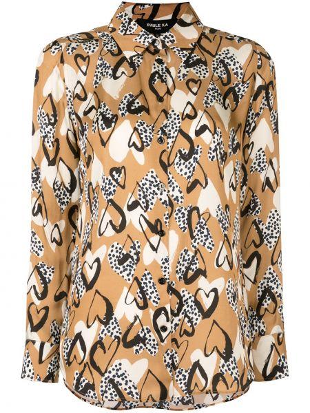 Коричневая классическая блузка с длинным рукавом с воротником из вискозы Paule Ka
