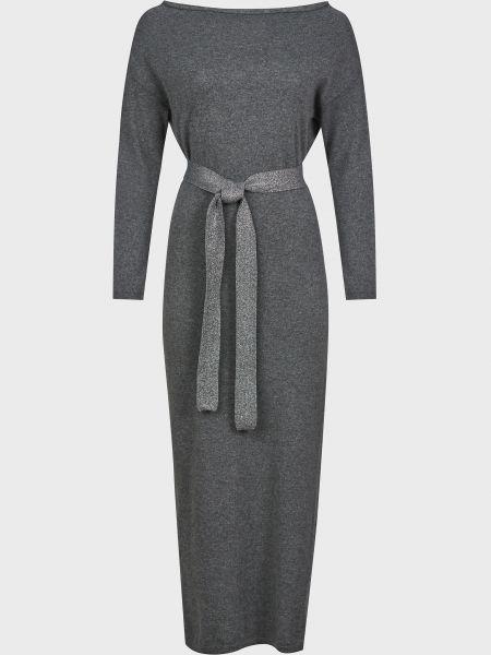 Шерстяное серое платье с поясом Kontatto