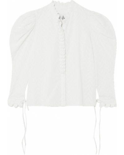 Biała bluzka z haftem bawełniana Horror Vacui