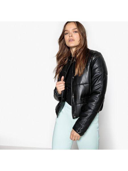 Кожаная куртка стеганая укороченная La Redoute Collections