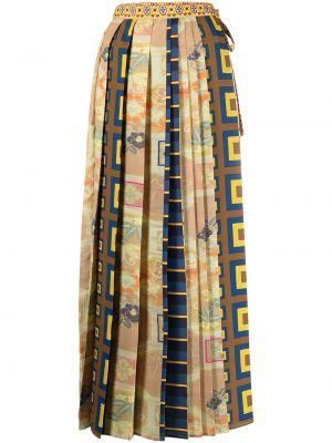 С завышенной талией желтая плиссированная юбка макси Pierre-louis Mascia