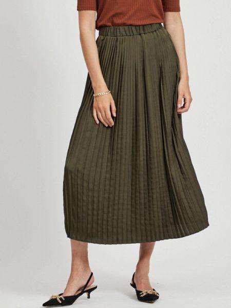 Плиссированная плиссированная юбка хаки Vila
