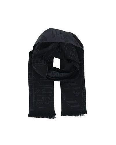 Черный шарф шерстяной Emporio Armani