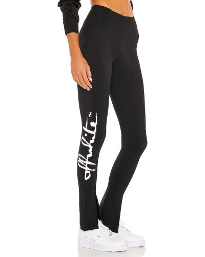 Włókienniczy czarny legginsy rozciągać w połowie kolana Off-white