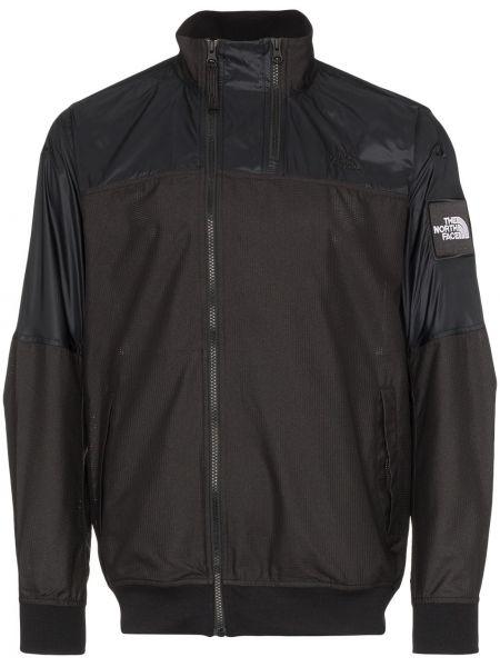Klasyczna czarna długa kurtka z haftem The North Face Black Series