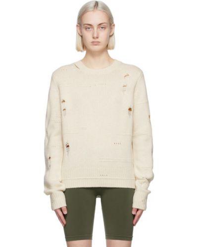 Шерстяной белый длинный свитер с воротником Helmut Lang