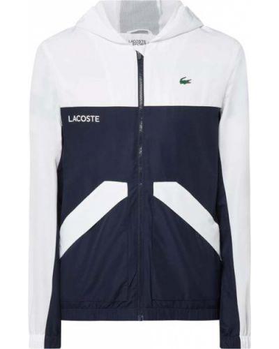 Biała kurtka sportowa z kapturem z printem Lacoste