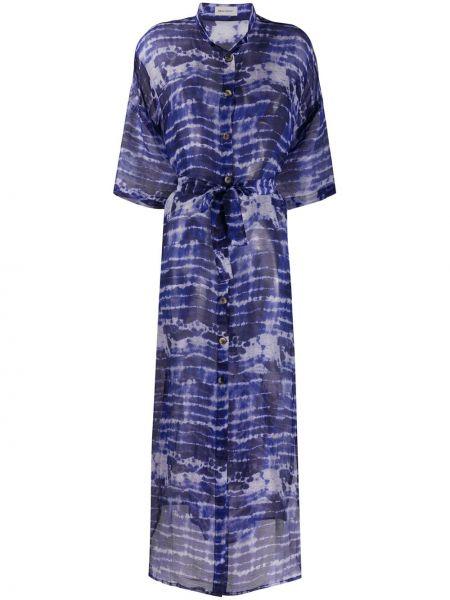 С рукавами синее льняное платье макси с воротником Beau Souci
