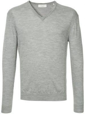 Серый шерстяной приталенный свитер с V-образным вырезом Cerruti 1881