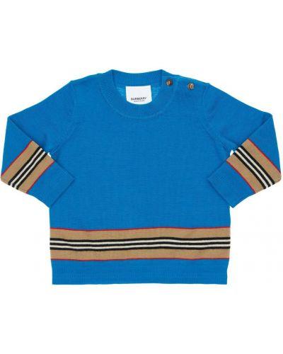 Wełniany niebieski sweter Burberry