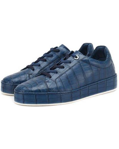 Синие кеды из кожи крокодила Loro Piana