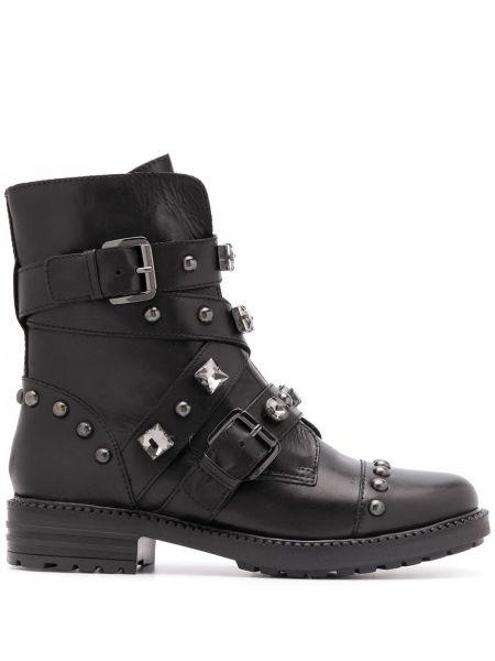 Кожаные черные сапоги с заклепками с пряжкой Carvela