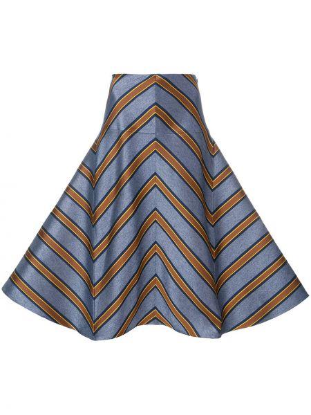 Расклешенная шелковая синяя юбка Fendi