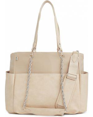 Ciepła beżowa torebka na łańcuszku z nylonu Beis