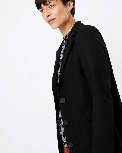 Черное пальто с капюшоном Marks & Spencer